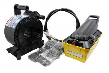 Mobile crimping machine for hydraulic hose HMSP P18AP incl die sets, ENERPAC pneumatic foot pump