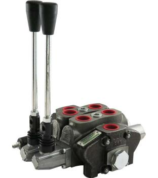 Lever Valve, Sectional valve, 80 Liter, Spring Centered, 2 Sections, with Pressure Relief Valve PRV 175 bar