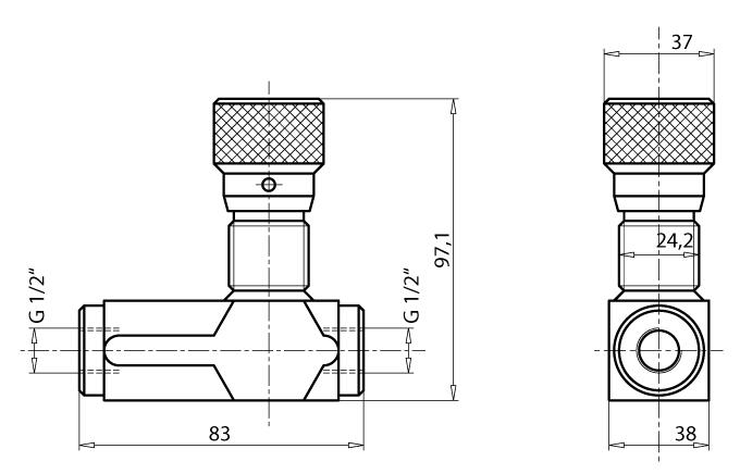 Abmessungen Drosselrückschlagventil 1/2'' mit Feineinstellung