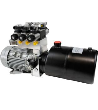 Hydraulic Power Pack, 2.2 kW, 400 Volt,  10 liter oil reservoir (steel), 5.8 ccm/REV gear pump, for 3 double acting users